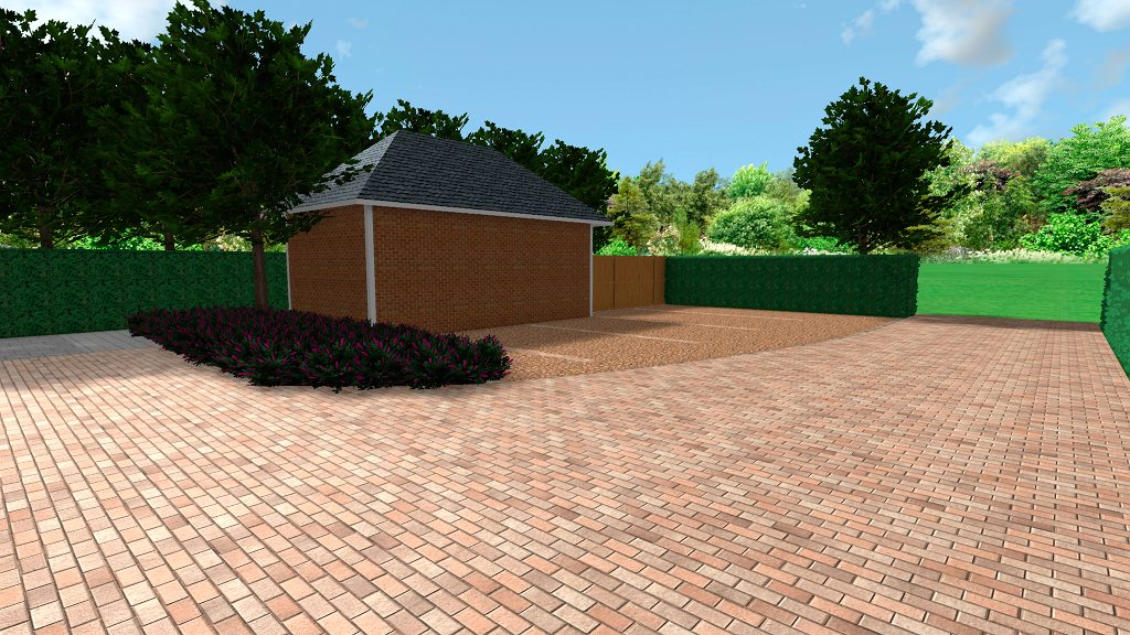 New block paved driveway and gravel parking area, Crowmarsh Hill, Wallingford, Oxfordshire